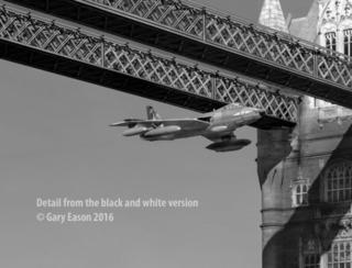 Tower bridge Hawker Hunter BW detail Gary Eason