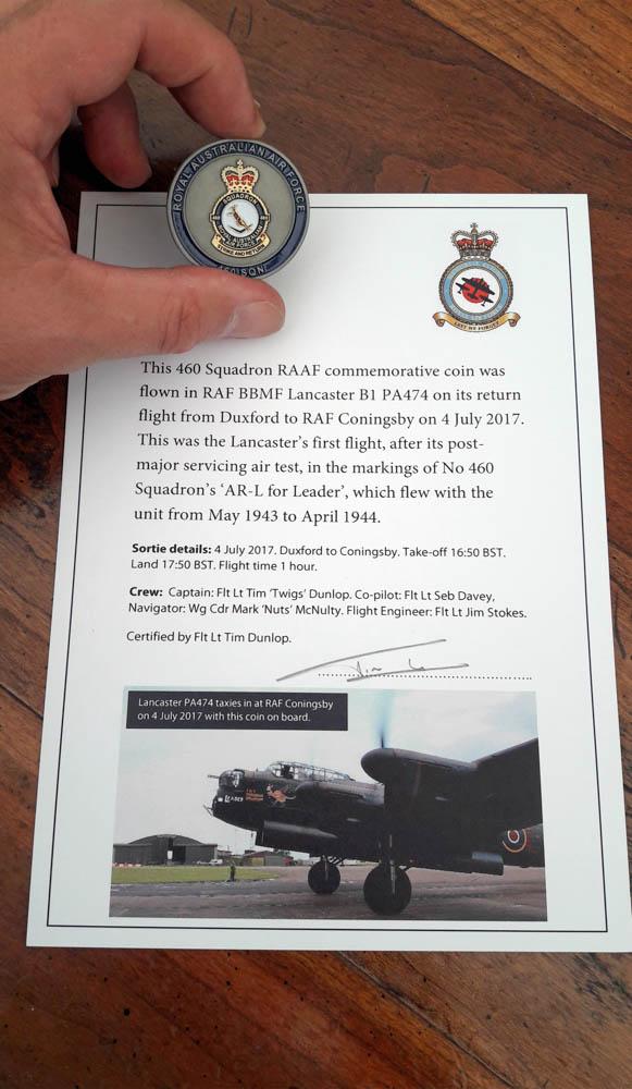 460 Squadron commemorative coin and certificate