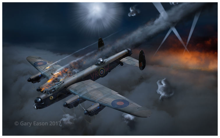 Lancaster_KB799_under_fire © Gary_Eason