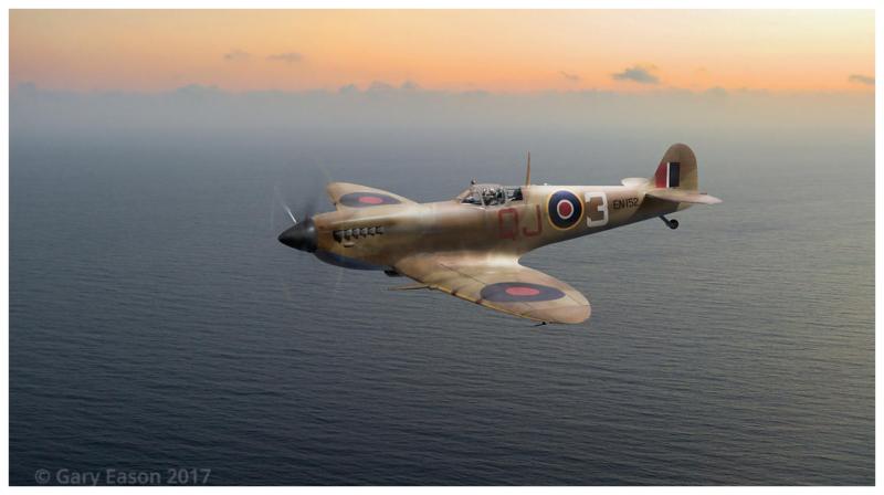 Spitfire EN152 over Gulf of Tunis Gary Eason