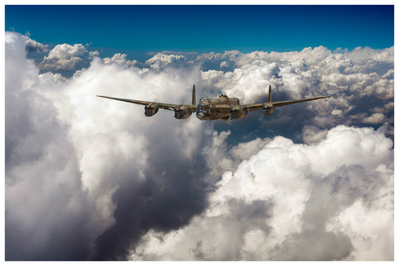 Lancaster LM227 I-Item above clouds in September 1944