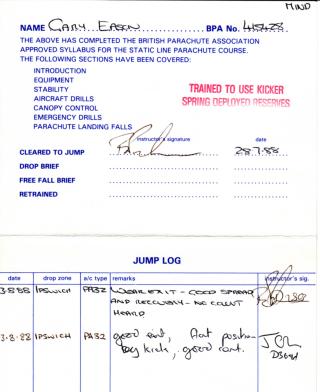 Parachute jump log book Gary Eason